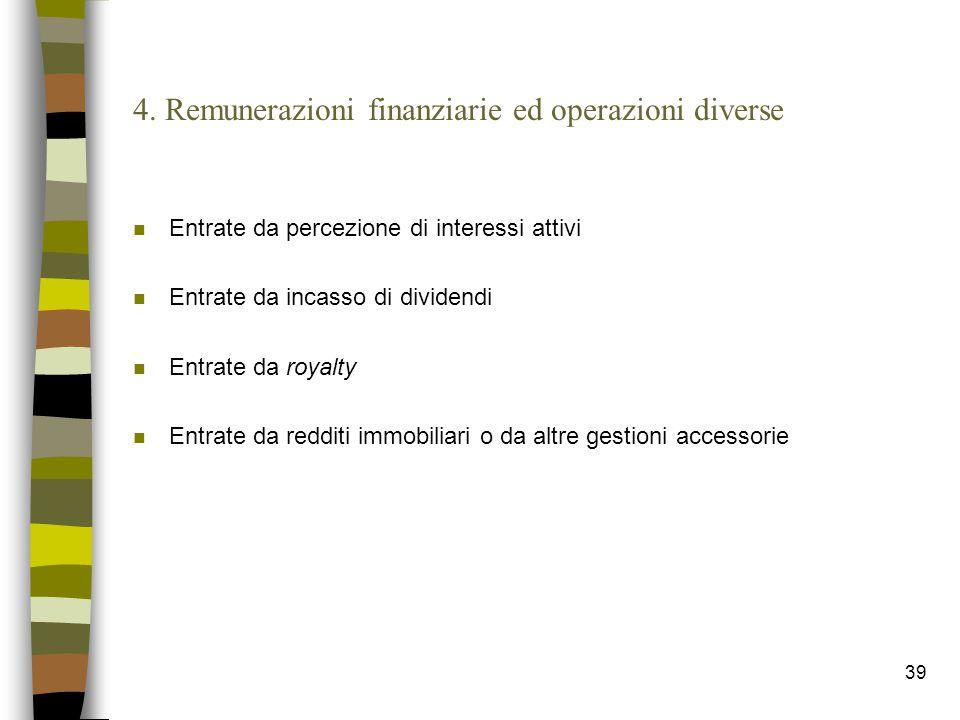 39 4. Remunerazioni finanziarie ed operazioni diverse n Entrate da percezione di interessi attivi n Entrate da incasso di dividendi n Entrate da royal