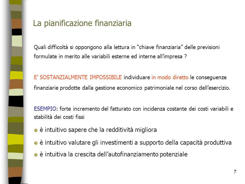 """7 La pianificazione finanziaria Quali difficoltà si oppongono alla lettura in """"chiave finanziaria"""" delle previsioni formulate in merito alle variabili"""