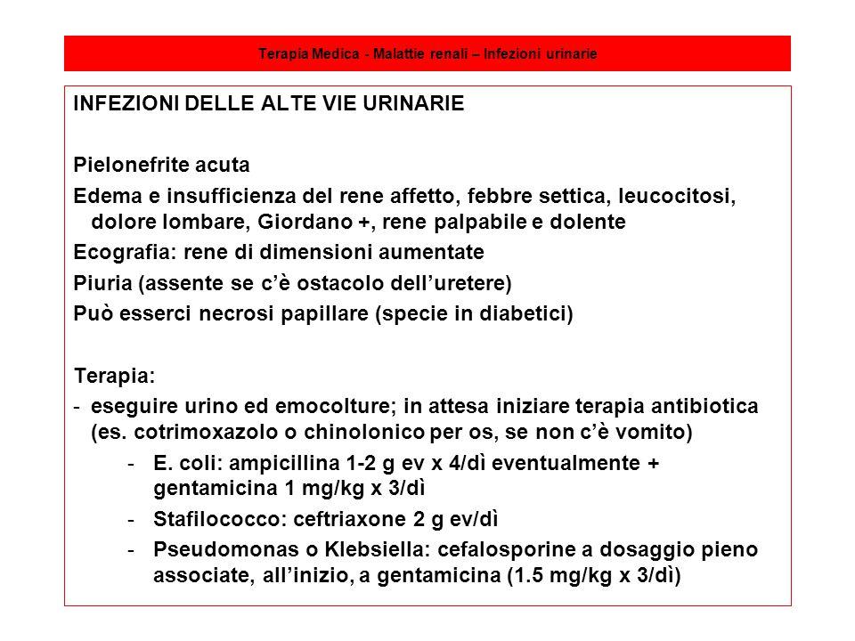 Terapia Medica - Malattie renali – Infezioni urinarie INFEZIONI DELLE ALTE VIE URINARIE Pielonefrite acuta Edema e insufficienza del rene affetto, feb