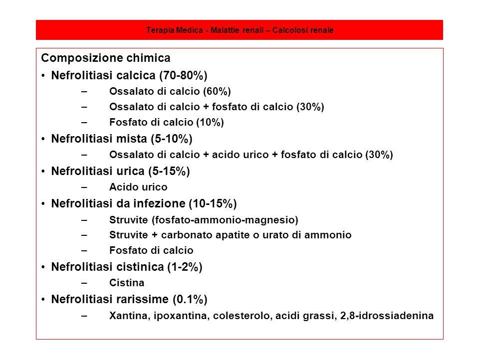 Terapia Medica - Malattie renali – Calcolosi renale Composizione chimica Nefrolitiasi calcica (70-80%) –Ossalato di calcio (60%) –Ossalato di calcio +