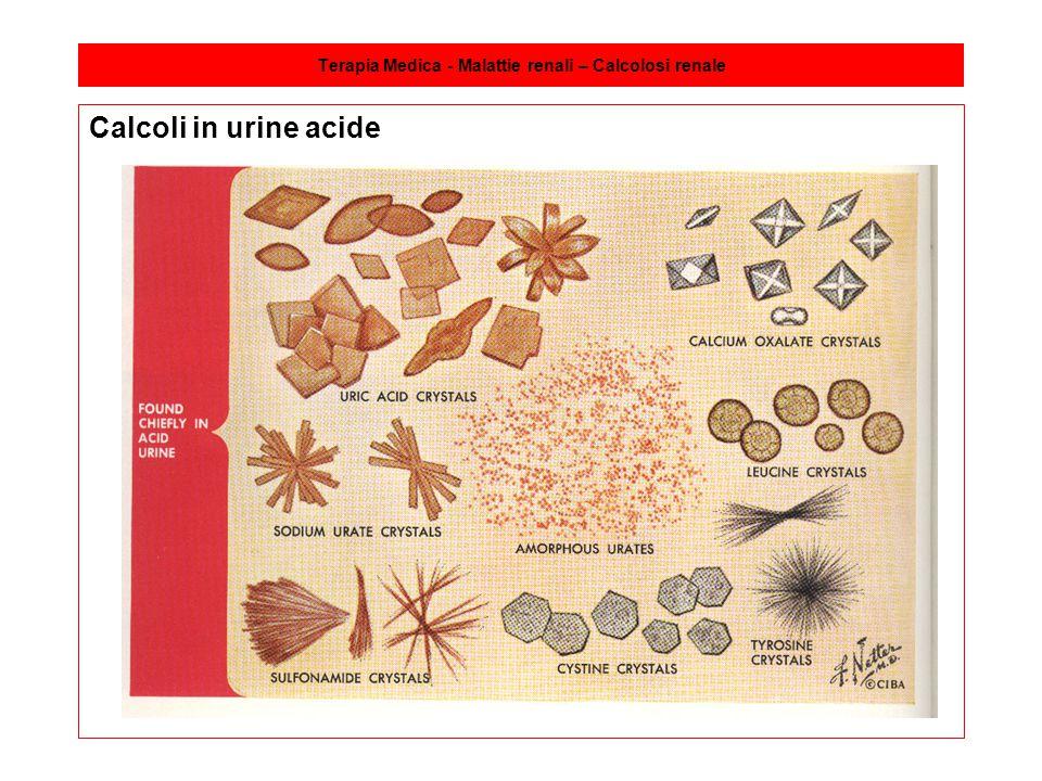 Terapia Medica - Malattie renali – Calcolosi renale Calcoli in urine acide