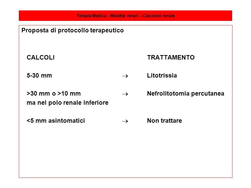 Terapia Medica - Malattie renali – Calcolosi renale Proposta di protocollo terapeutico CALCOLITRATTAMENTO 5-30 mm  Litotrissia >30 mm o >10 mm  Nefr