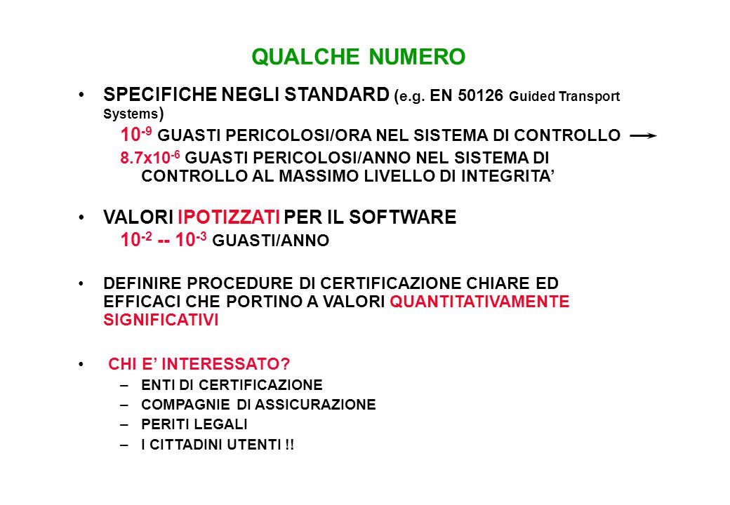 SPECIFICHE NEGLI STANDARD ( e.g.