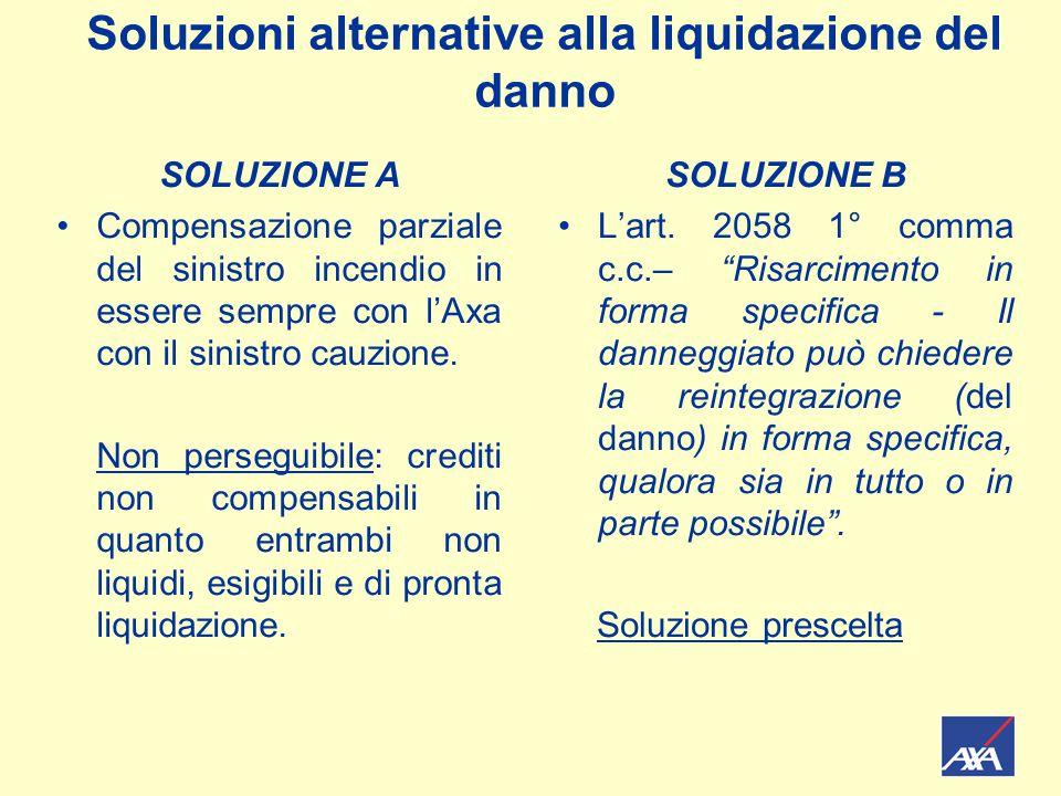 Soluzioni alternative alla liquidazione del danno SOLUZIONE A Compensazione parziale del sinistro incendio in essere sempre con l'Axa con il sinistro cauzione.