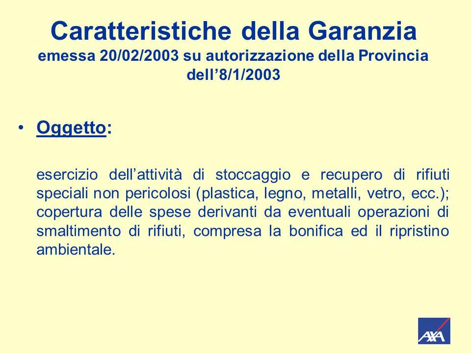 Caratteristiche della Garanzia emessa 20/02/2003 su autorizzazione della Provincia dell'8/1/2003 Oggetto: esercizio dell'attività di stoccaggio e recu