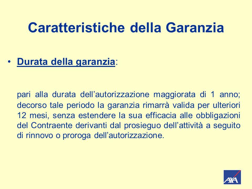 Caratteristiche della Garanzia Pagamento dell'indennizzo: entro 30 gg.