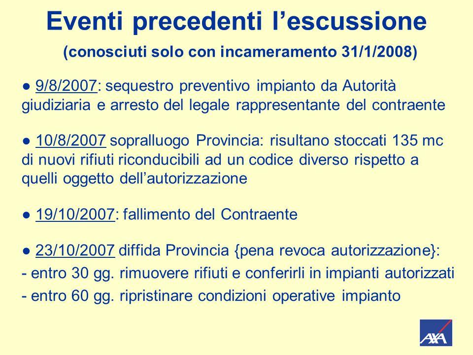 Eventi precedenti l'escussione (conosciuti solo con incameramento 31/1/2008) ● 9/8/2007: sequestro preventivo impianto da Autorità giudiziaria e arres