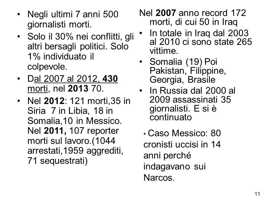 11 Nel 2007 anno record 172 morti, di cui 50 in Iraq In totale in Iraq dal 2003 al 2010 ci sono state 265 vittime. Somalia (19) Poi Pakistan, Filippin