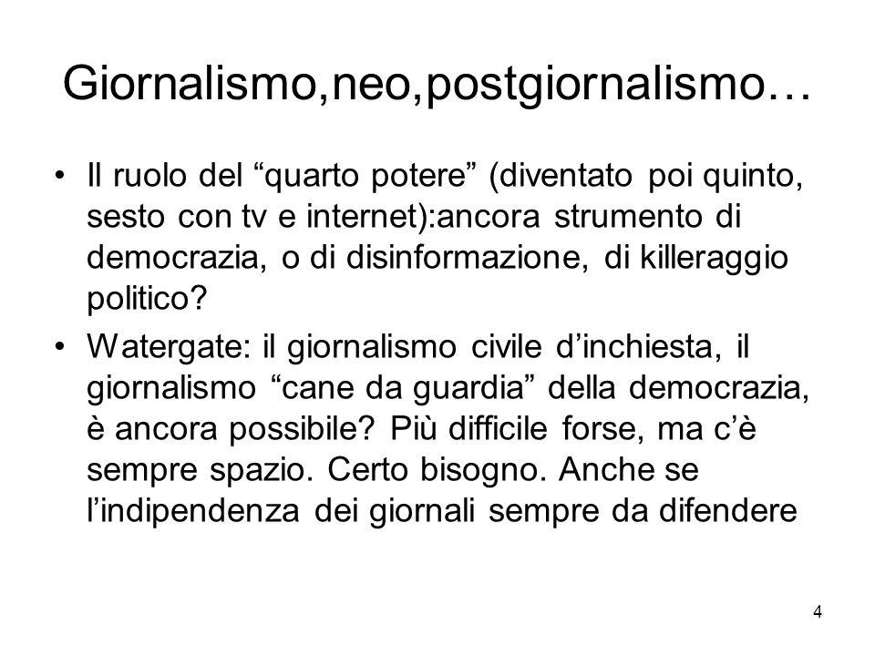 4 Giornalismo,neo,postgiornalismo… Il ruolo del quarto potere (diventato poi quinto, sesto con tv e internet):ancora strumento di democrazia, o di disinformazione, di killeraggio politico.