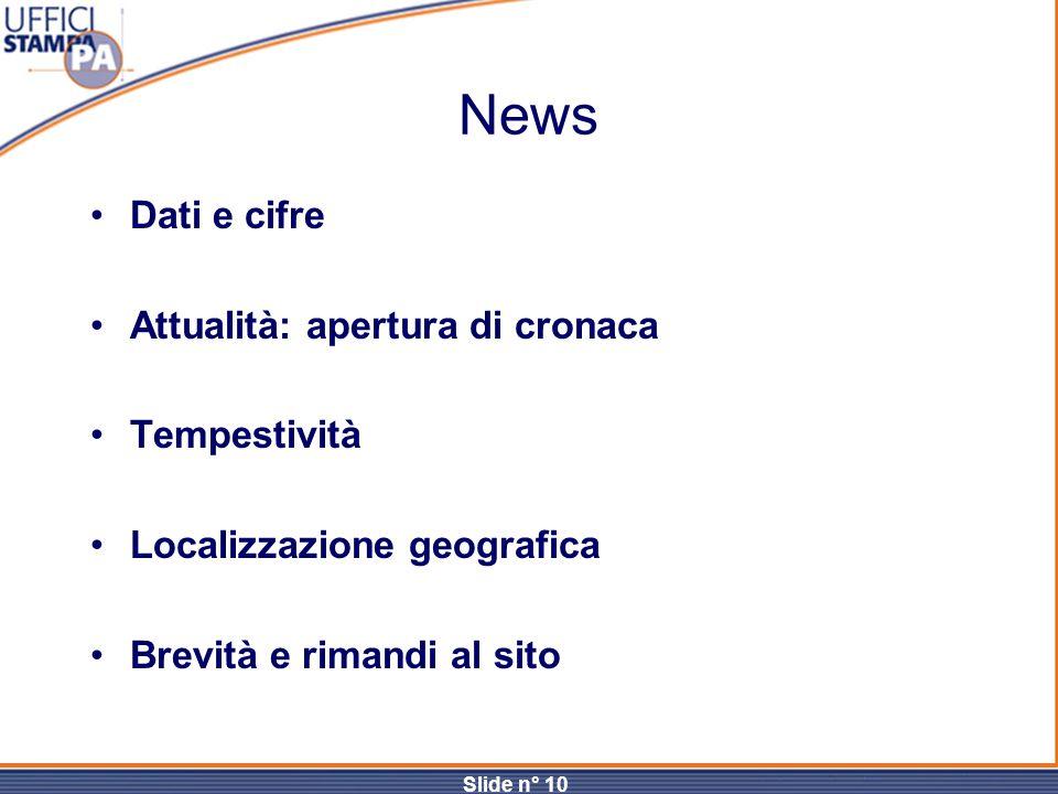 Slide n° 10 News Dati e cifre Attualità: apertura di cronaca Tempestività Localizzazione geografica Brevità e rimandi al sito