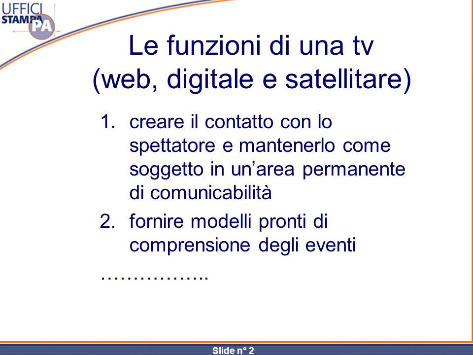 Slide n° 2 Le funzioni di una tv (web, digitale e satellitare) 1.creare il contatto con lo spettatore e mantenerlo come soggetto in un'area permanente