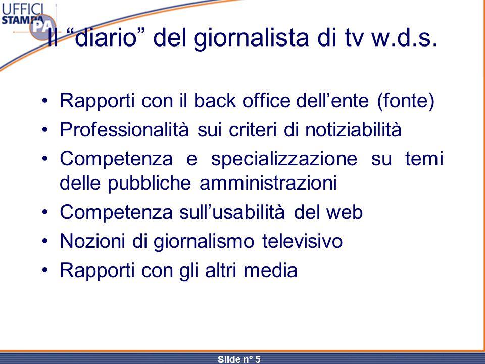 """Slide n° 5 Il """"diario"""" del giornalista di tv w.d.s. Rapporti con il back office dell'ente (fonte) Professionalità sui criteri di notiziabilità Compete"""