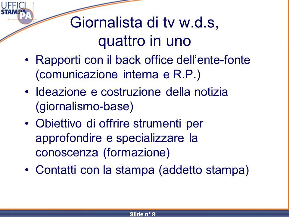 Slide n° 8 Giornalista di tv w.d.s, quattro in uno Rapporti con il back office dell'ente-fonte (comunicazione interna e R.P.) Ideazione e costruzione
