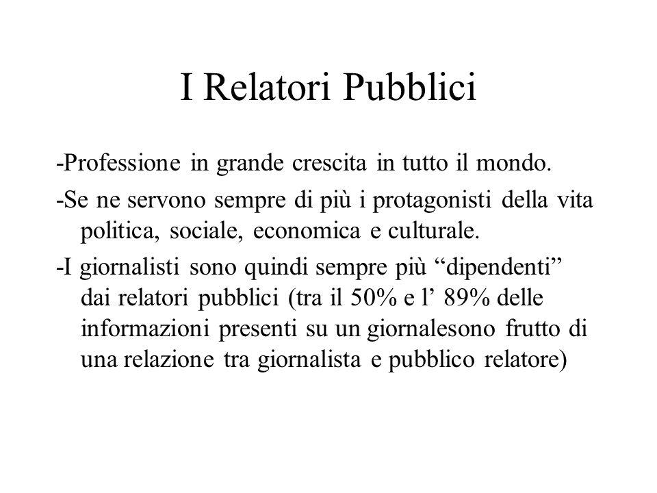 I Relatori Pubblici -Professione in grande crescita in tutto il mondo. -Se ne servono sempre di più i protagonisti della vita politica, sociale, econo