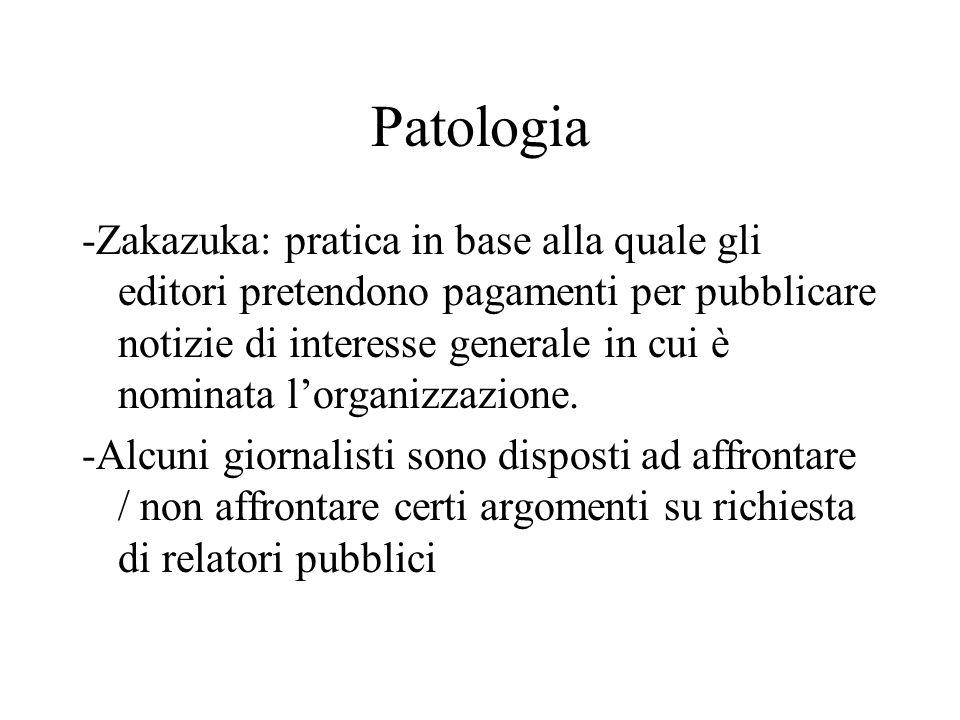 Patologia -Zakazuka: pratica in base alla quale gli editori pretendono pagamenti per pubblicare notizie di interesse generale in cui è nominata l'orga
