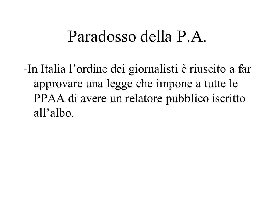 Paradosso della P.A. -In Italia l'ordine dei giornalisti è riuscito a far approvare una legge che impone a tutte le PPAA di avere un relatore pubblico