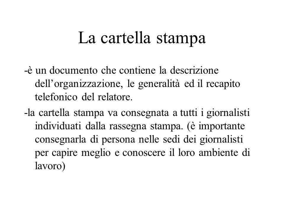 La cartella stampa -è un documento che contiene la descrizione dell'organizzazione, le generalità ed il recapito telefonico del relatore. -la cartella