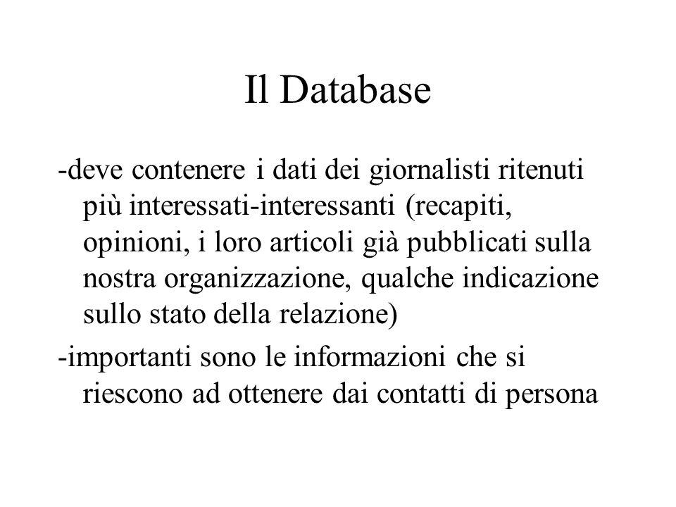 Il Database -deve contenere i dati dei giornalisti ritenuti più interessati-interessanti (recapiti, opinioni, i loro articoli già pubblicati sulla nos