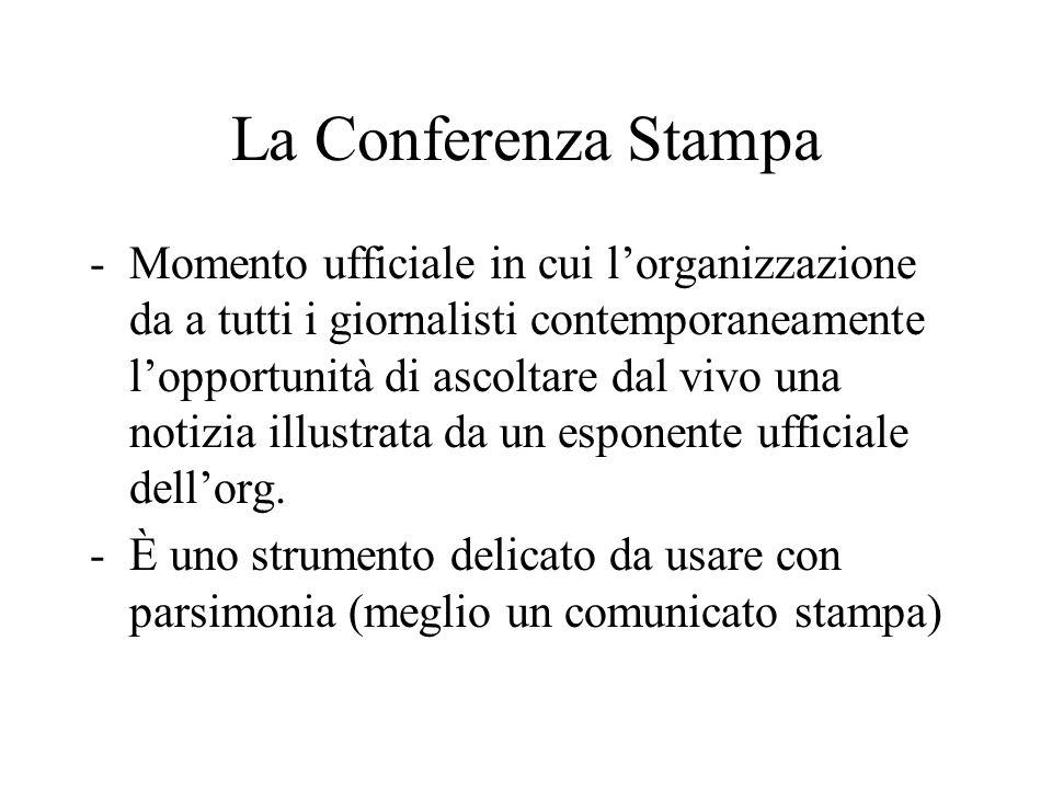 La Conferenza Stampa -Momento ufficiale in cui l'organizzazione da a tutti i giornalisti contemporaneamente l'opportunità di ascoltare dal vivo una no