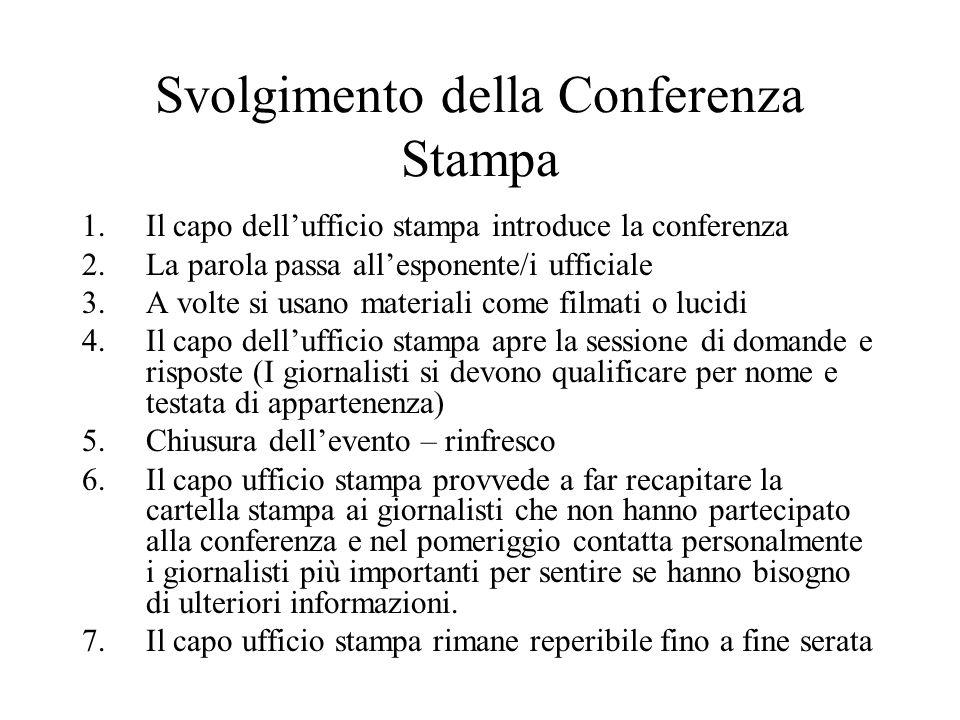 Svolgimento della Conferenza Stampa 1.Il capo dell'ufficio stampa introduce la conferenza 2.La parola passa all'esponente/i ufficiale 3.A volte si usa