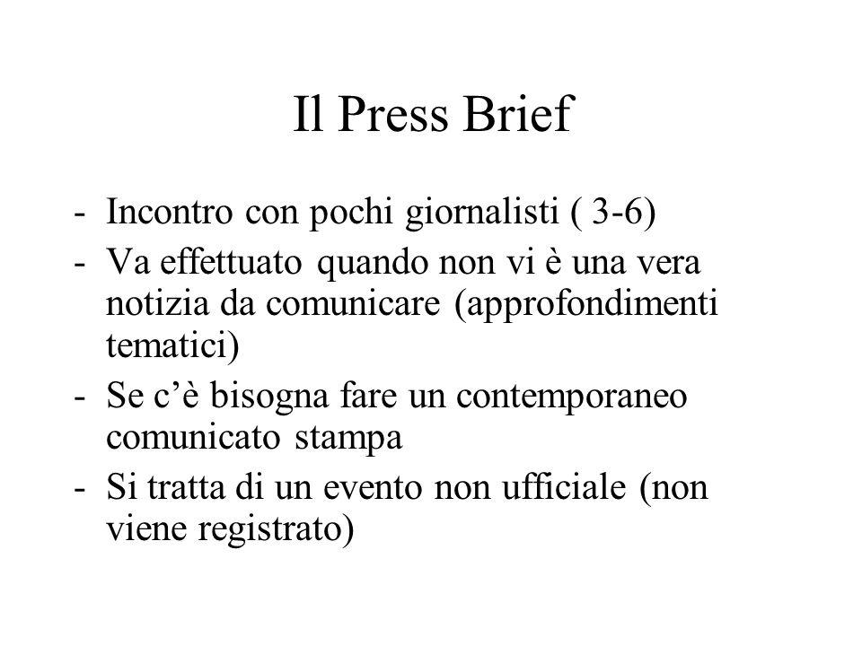 Il Press Brief -Incontro con pochi giornalisti ( 3-6) -Va effettuato quando non vi è una vera notizia da comunicare (approfondimenti tematici) -Se c'è