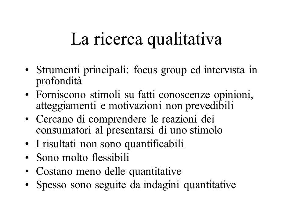 La ricerca qualitativa Strumenti principali: focus group ed intervista in profondità Forniscono stimoli su fatti conoscenze opinioni, atteggiamenti e