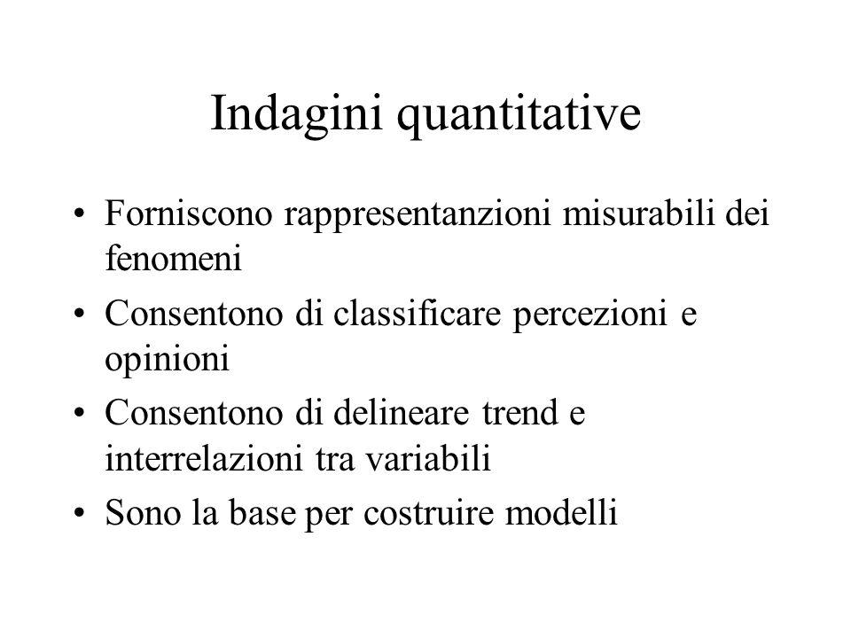 Indagini quantitative Forniscono rappresentanzioni misurabili dei fenomeni Consentono di classificare percezioni e opinioni Consentono di delineare tr