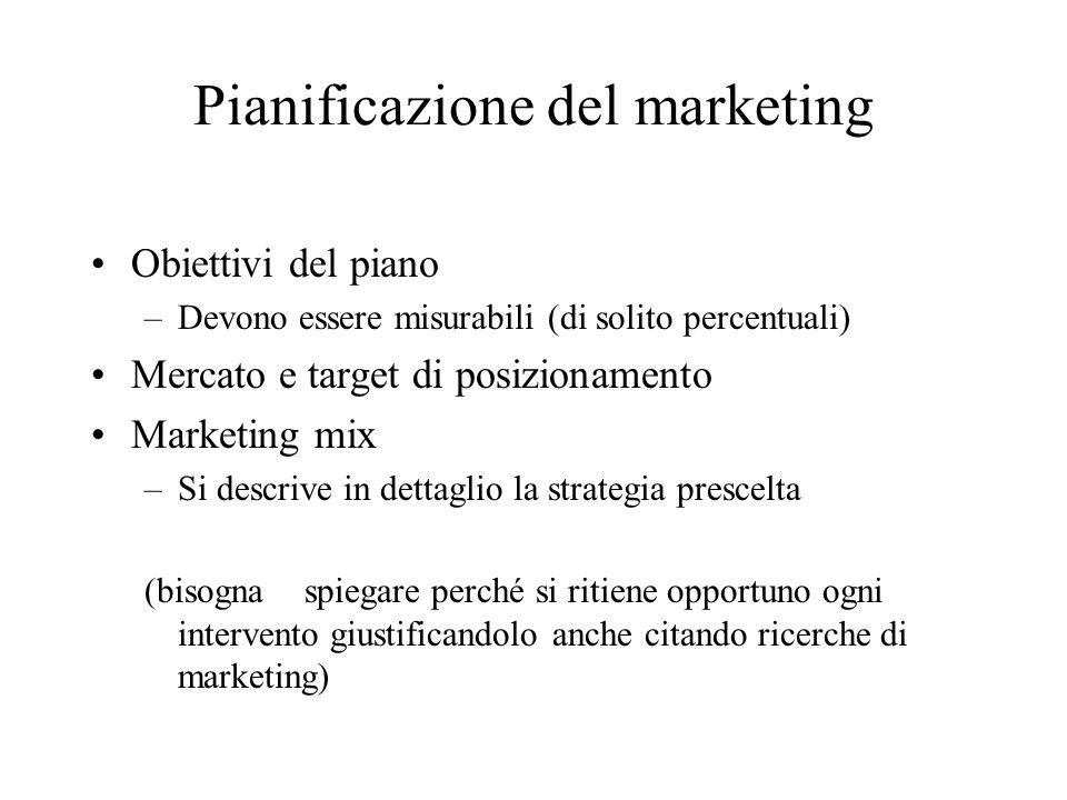 Pianificazione del marketing Obiettivi del piano –Devono essere misurabili (di solito percentuali) Mercato e target di posizionamento Marketing mix –S
