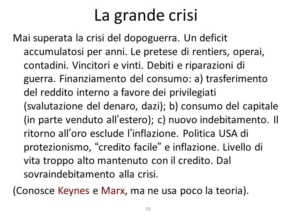 La grande crisi Mai superata la crisi del dopoguerra.