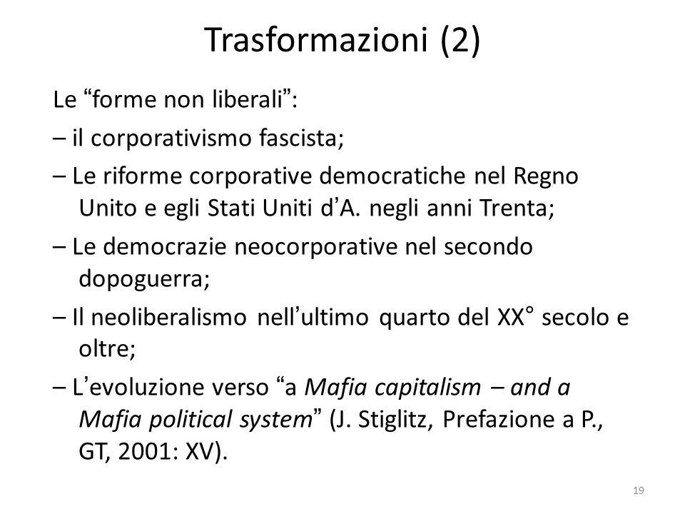 Trasformazioni (2) Le forme non liberali : – il corporativismo fascista; – Le riforme corporative democratiche nel Regno Unito e egli Stati Uniti d'A.