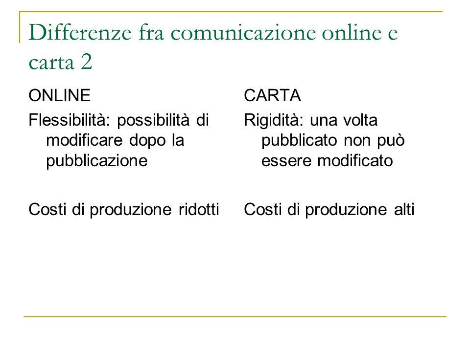 Differenze fra comunicazione online e carta 2 ONLINE Flessibilità: possibilità di modificare dopo la pubblicazione Costi di produzione ridotti CARTA Rigidità: una volta pubblicato non può essere modificato Costi di produzione alti