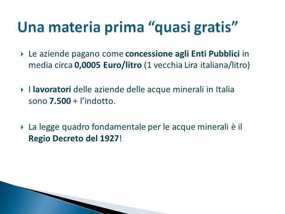  Le aziende pagano come concessione agli Enti Pubblici in media circa 0,0005 Euro/litro (1 vecchia Lira italiana/litro)  I lavoratori delle aziende