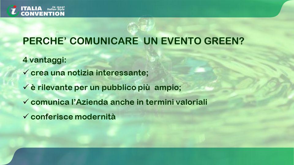 PERCHE' COMUNICARE UN EVENTO GREEN? 4 vantaggi: crea una notizia interessante; è rilevante per un pubblico più ampio; comunica l'Azienda anche in term