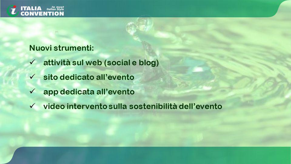 Nuovi strumenti: attività sul web (social e blog) sito dedicato all'evento app dedicata all'evento video intervento sulla sostenibilità dell'evento