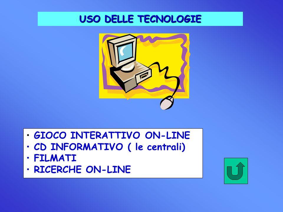 USO DELLE TECNOLOGIE GIOCO INTERATTIVO ON-LINE CD INFORMATIVO ( le centrali) FILMATI RICERCHE ON-LINE