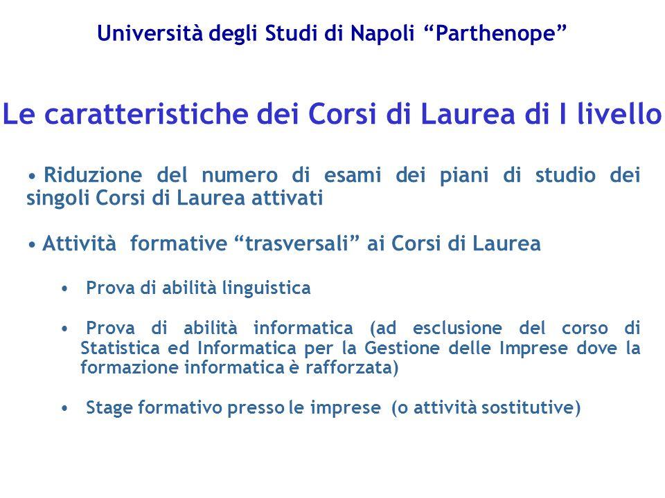 """Università degli Studi di Napoli """"Parthenope"""" Riduzione del numero di esami dei piani di studio dei singoli Corsi di Laurea attivati Attività formativ"""