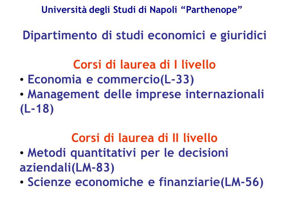 """Università degli Studi di Napoli """"Parthenope"""" Dipartimento di studi economici e giuridici Corsi di laurea di I livello Economia e commercio(L-33) Mana"""