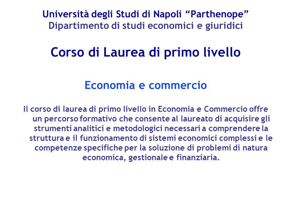 """Università degli Studi di Napoli """"Parthenope"""" Dipartimento di studi economici e giuridici Corso di Laurea di primo livello Economia e commercio Il cor"""