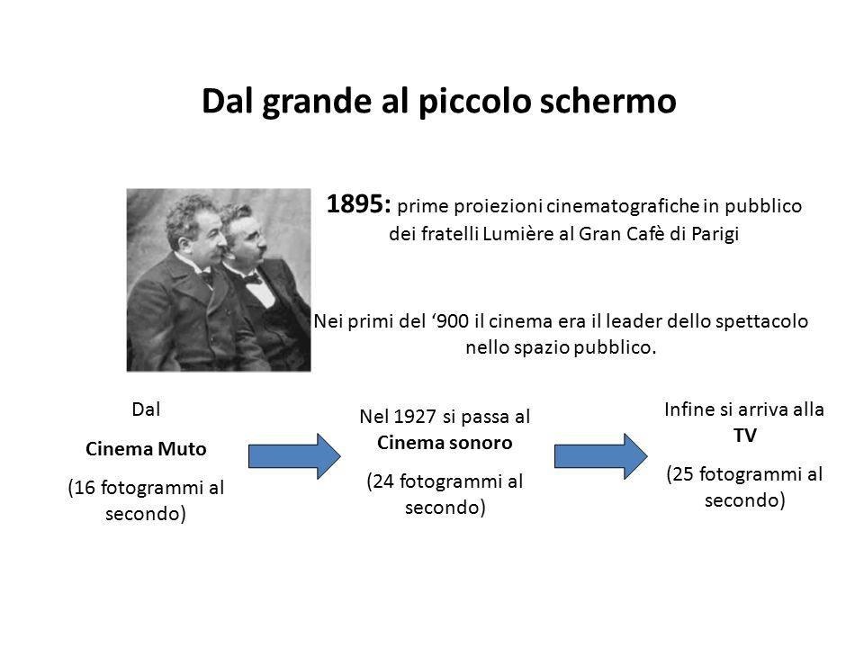 Nei primi del '900 il cinema era il leader dello spettacolo nello spazio pubblico. Dal grande al piccolo schermo Nel 1927 si passa al Cinema sonoro (2