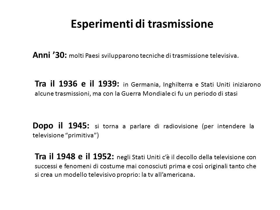 Esperimenti di trasmissione Anni '30: molti Paesi svilupparono tecniche di trasmissione televisiva. Dopo il 1945: si torna a parlare di radiovisione (