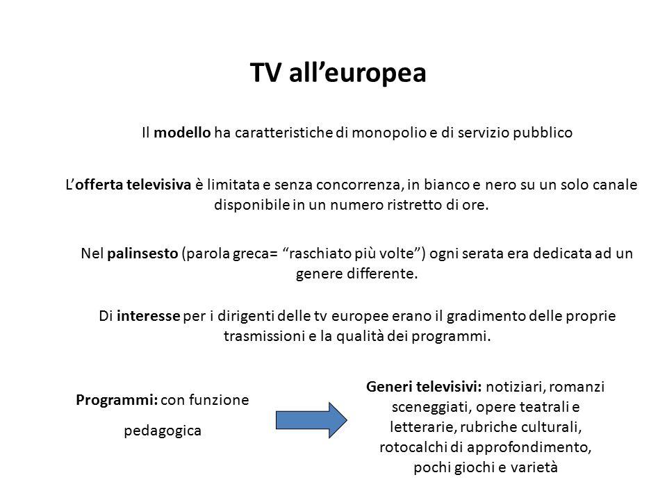 TV all'europea Il modello ha caratteristiche di monopolio e di servizio pubblico Programmi: con funzione pedagogica Generi televisivi: notiziari, roma