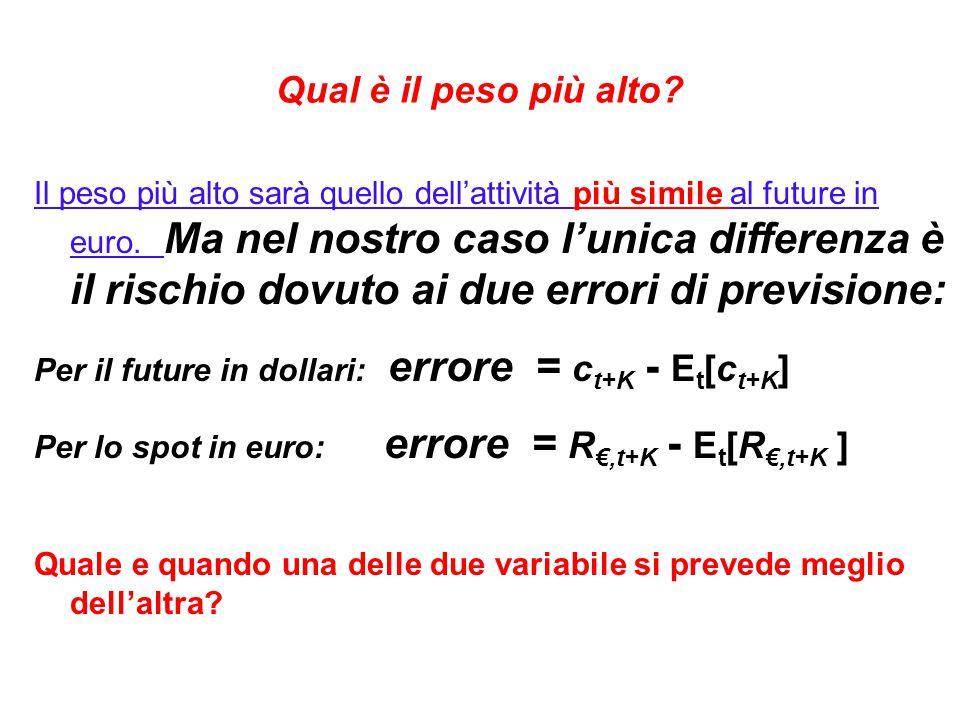 Qual è il peso più alto. Il peso più alto sarà quello dell'attività più simile al future in euro.