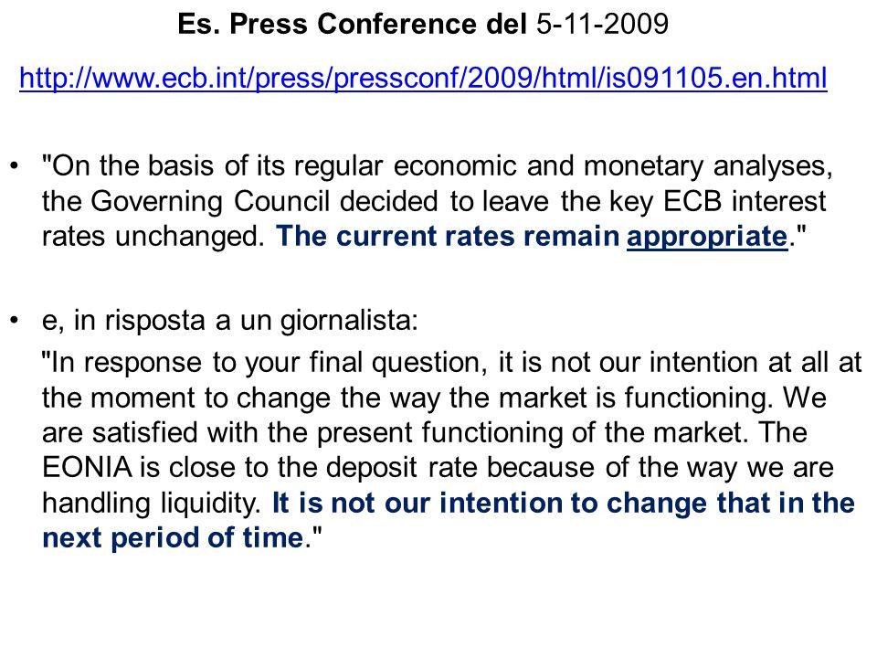 Es. Press Conference del 5-11-2009 http://www.ecb.int/press/pressconf/2009/html/is091105.en.html http://www.ecb.int/press/pressconf/2009/html/is091105
