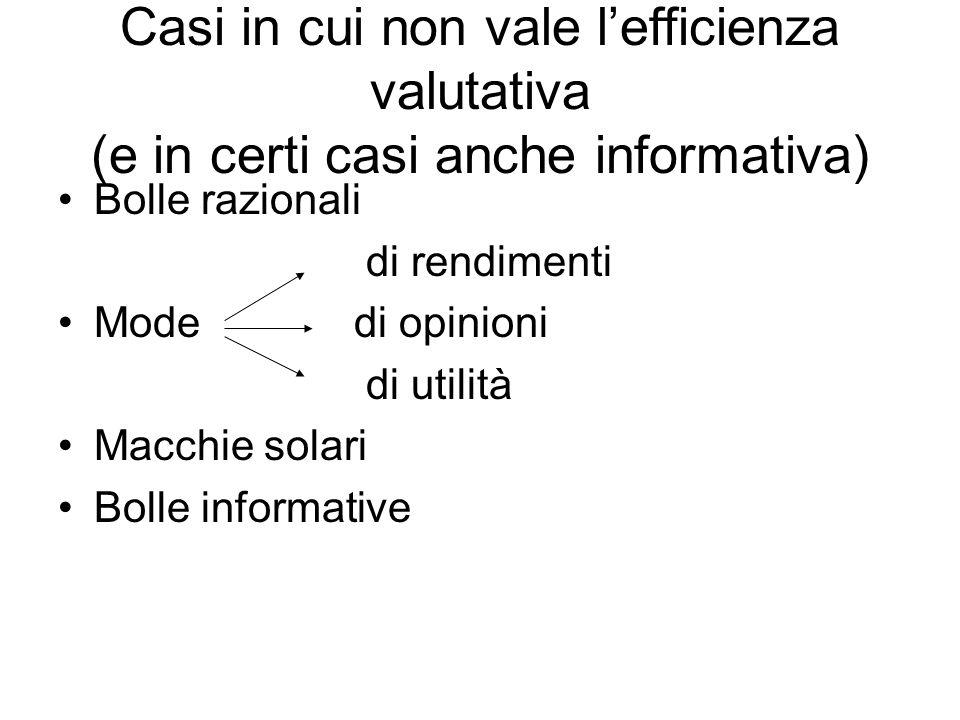 Casi in cui non vale l'efficienza valutativa (e in certi casi anche informativa) Bolle razionali di rendimenti Mode di opinioni di utilità Macchie solari Bolle informative