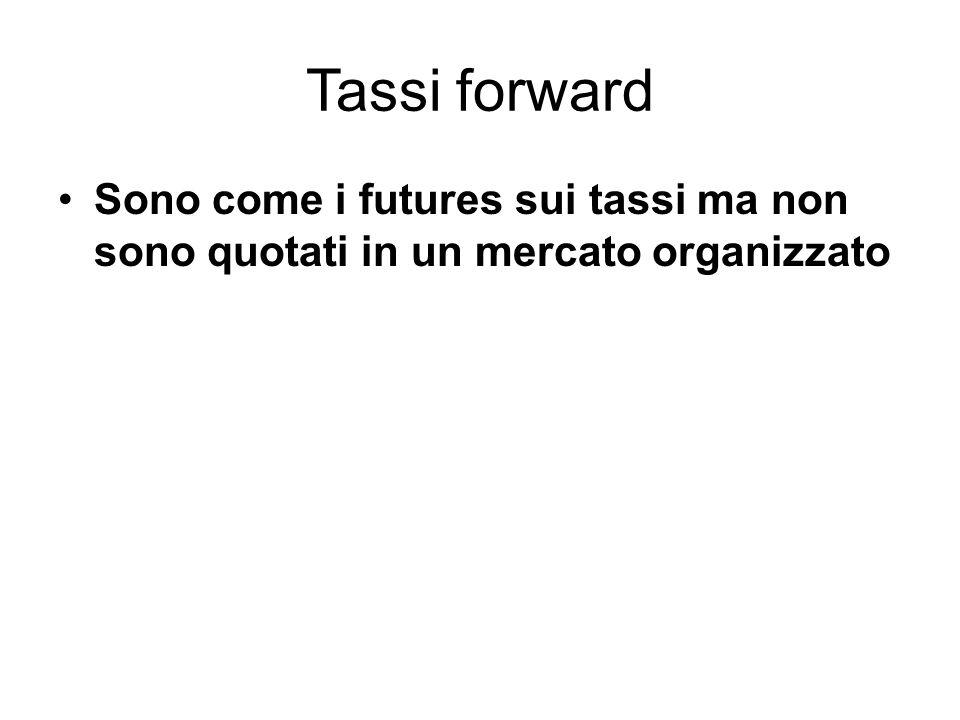 Tassi forward Sono come i futures sui tassi ma non sono quotati in un mercato organizzato