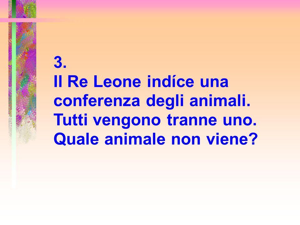 3. Il Re Leone indíce una conferenza degli animali. Tutti vengono tranne uno. Quale animale non viene?