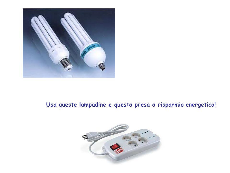 Usa queste lampadine e questa presa a risparmio energetico!