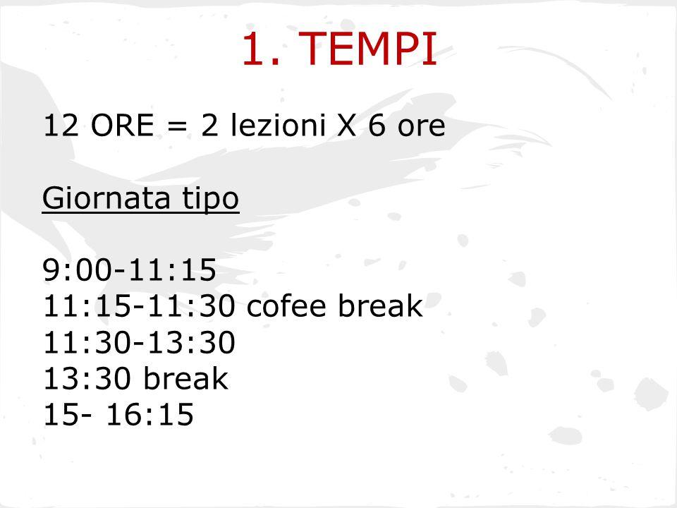 1. TEMPI 12 ORE = 2 lezioni X 6 ore Giornata tipo 9:00-11:15 11:15-11:30 cofee break 11:30-13:30 13:30 break 15- 16:15