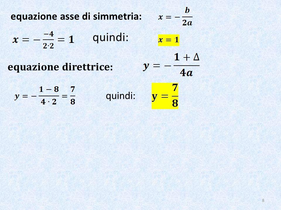 quindi: equazione asse di simmetria: equazione direttrice: quindi: 8