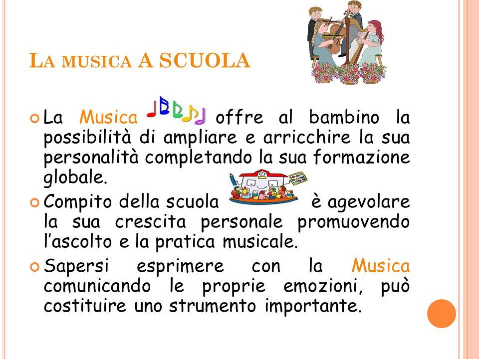 L A MUSICA A SCUOLA La Musica offre al bambino la possibilità di ampliare e arricchire la sua personalità completando la sua formazione globale. Compi
